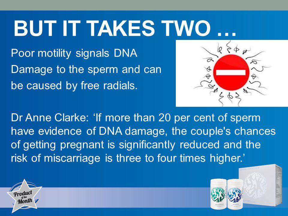 BUT IT TAKES TWO … Poor motility signals DNA Damage to the sperm and can be caused by free radials.