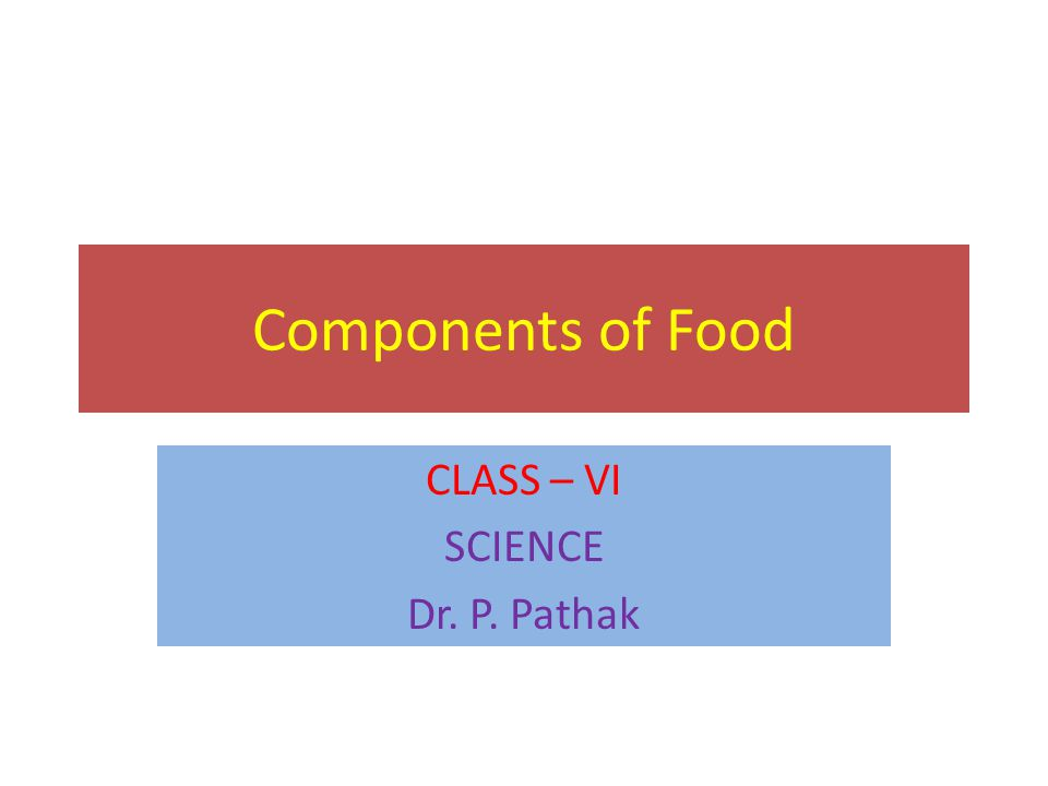 Components of Food CLASS – VI SCIENCE Dr. P. Pathak