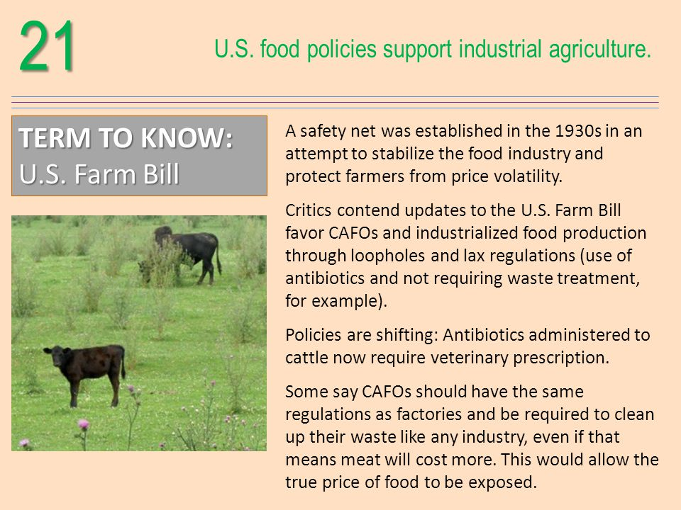 21 U.S. food policies support industrial agriculture.