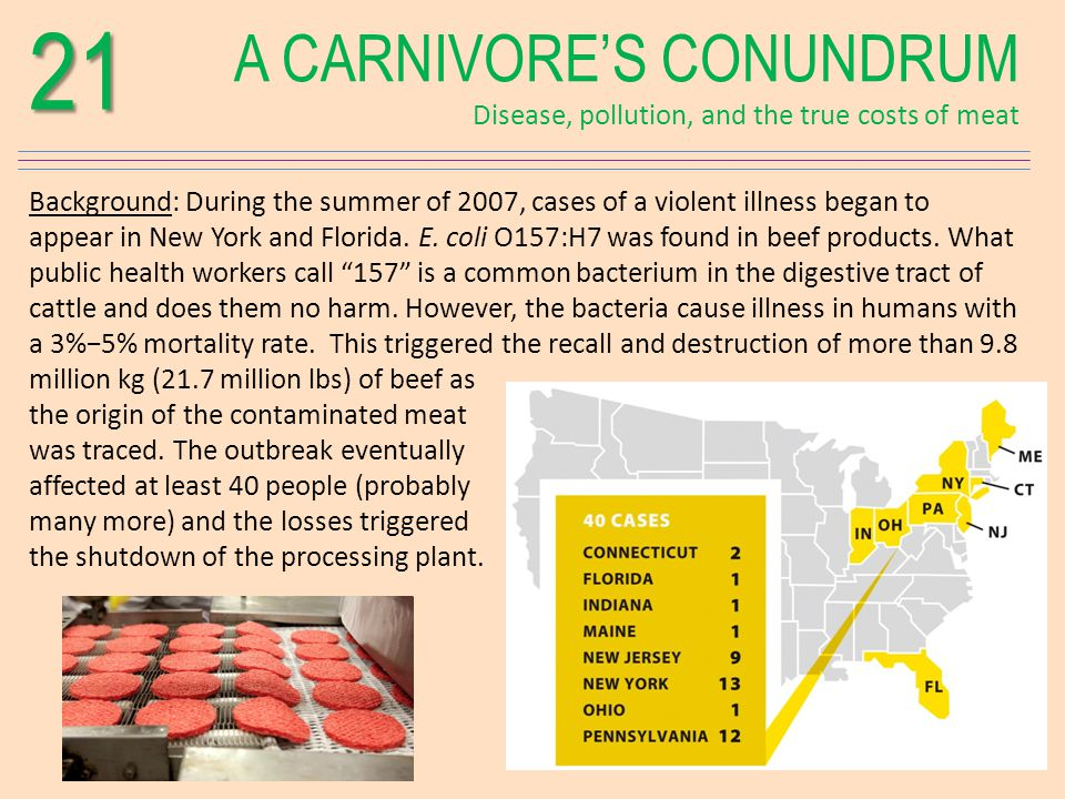 A CARNIVORES CONUNDRUM Disease, pollution, and the true costs of meat21 Background: During the summer of 2007, cases of a violent illness began to appear in New York and Florida.