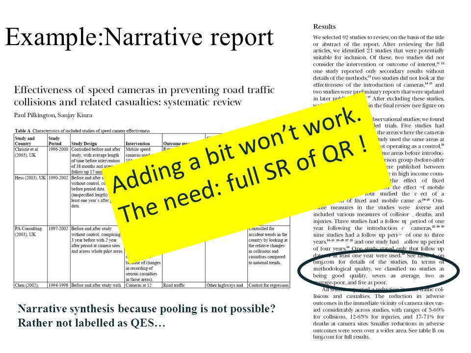 Narrative synthesis because pooling is not possible? Rather not labelled as QES… Example:Narrative report Adding a bit wont work. The need: full SR of