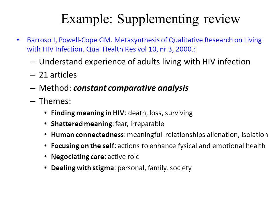 Example: Supplementing review Barroso J, Powell-Cope GM. Metasynthesis of Qualitative Research on Living with HIV Infection. Qual Health Res vol 10, n