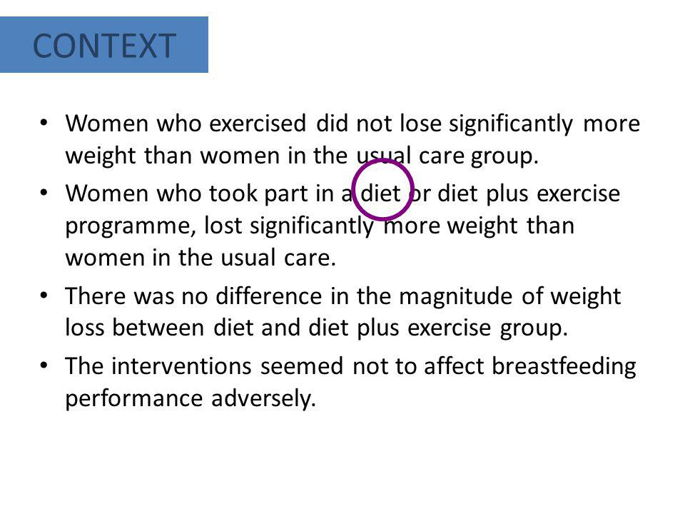 Women who exercised did not lose significantly more weight than women in the usual care group. Women who took part in a diet or diet plus exercise pro
