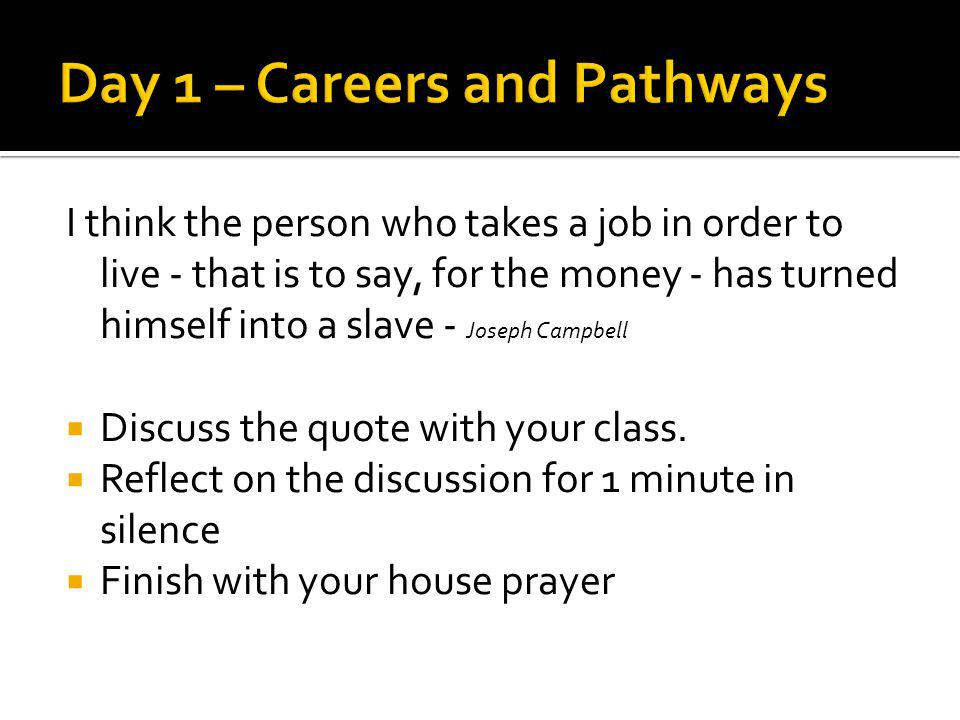 Pleasure in the job puts perfection in the work - Aristotle Discuss the quote with your class.