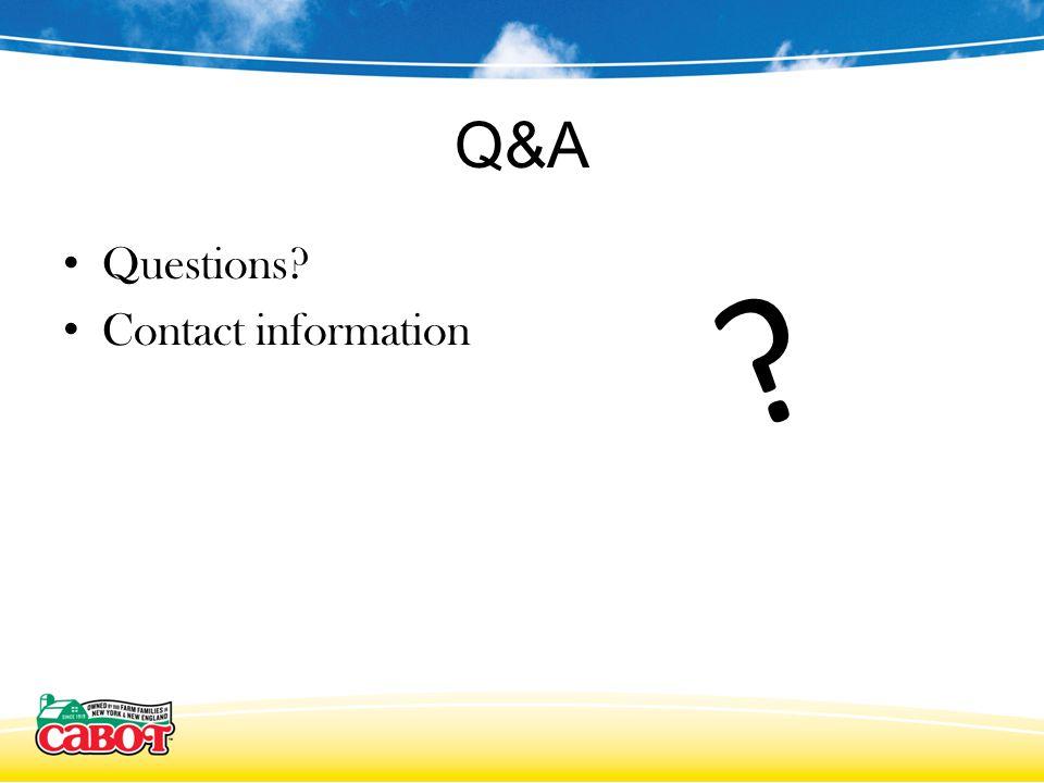 Q&A Questions Contact information