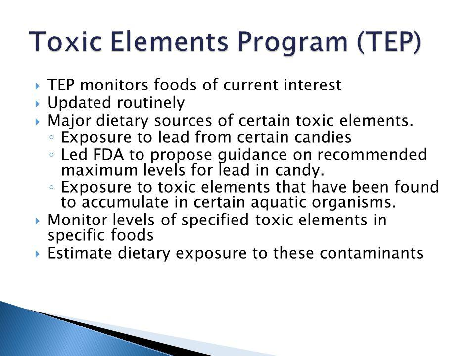 TEP monitors foods of current interest Updated routinely Major dietary sources of certain toxic elements.