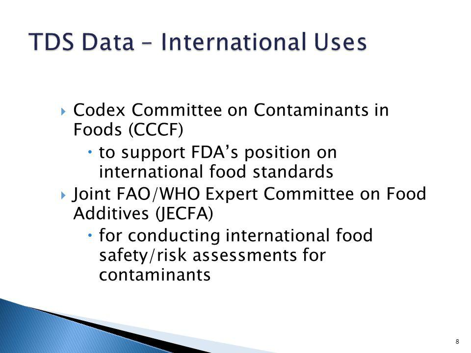 Codex Committee on Contaminants in Foods (CCCF) to support FDAs position on international food standards Joint FAO/WHO Expert Committee on Food Additives (JECFA) for conducting international food safety/risk assessments for contaminants 8