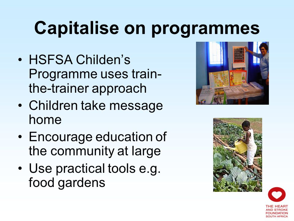 Capitalise on programmes HSFSA Childens Programme uses train- the-trainer approach Children take message home Encourage education of the community at large Use practical tools e.g.