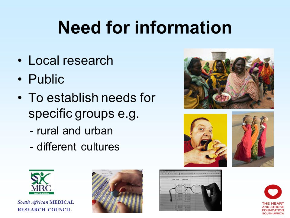 Need for information Local research Public To establish needs for specific groups e.g.
