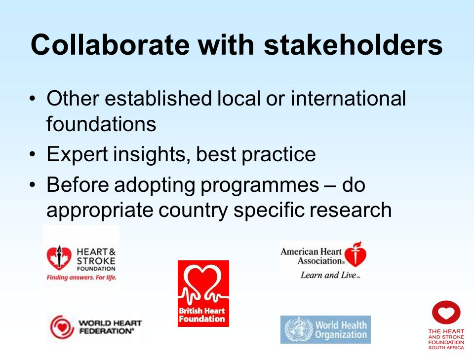 Collaborate with stakeholders Related organisations such as –World Action on Salt and Health (WASH) –5-a-day –International Union of Nutritional Sciences (IUNS) Create unified lobby groups To advocate for healthier foods for the country, including more veg & fruit, less salt, less fat