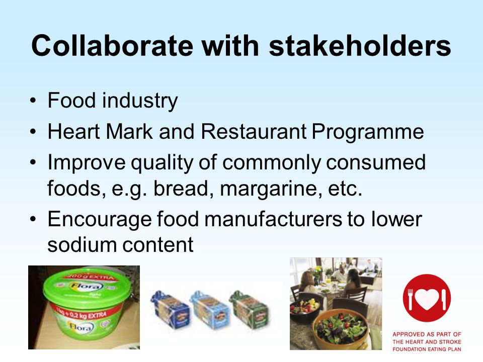 Heart Mark Heart Mark – established 22 years ago To help consumers easily identify healthier options Independent testing by reputable laboratory Dietitian involved in regulating Heart Mark products Criteria different for different food categories Criteria consider total, trans and saturated fat content, cholesterol, fibre, sodium and added sugar