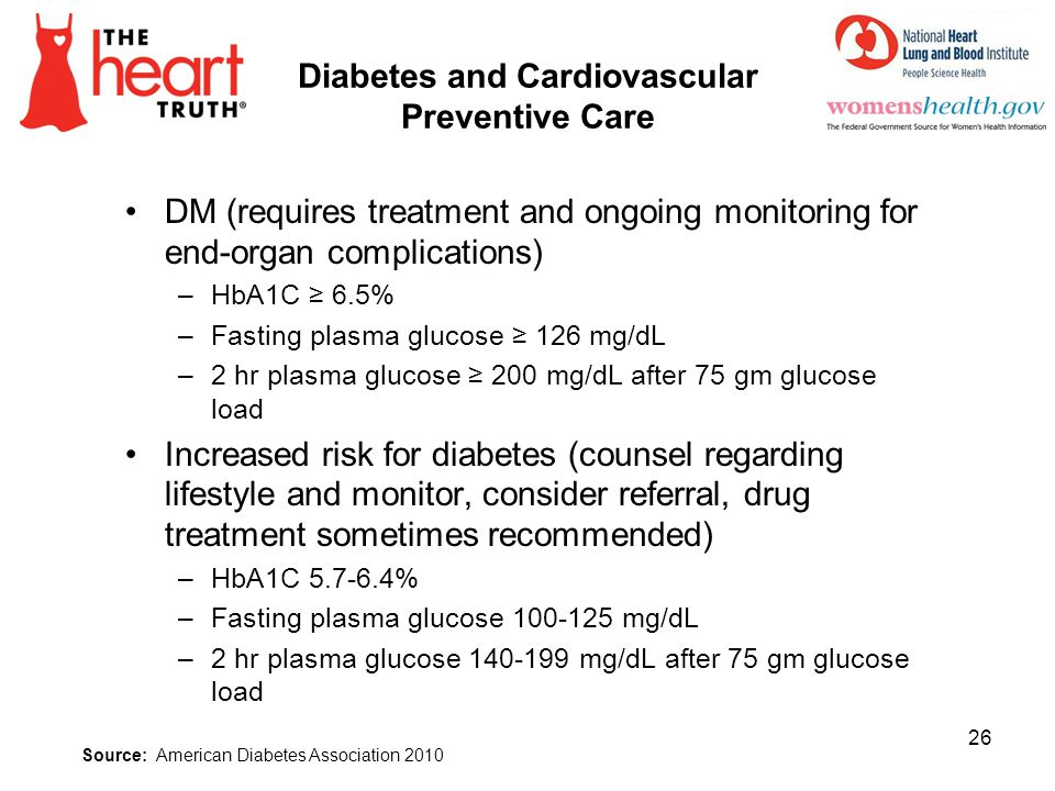 Diabetes and Cardiovascular Preventive Care DM (requires treatment and ongoing monitoring for end-organ complications) –HbA1C 6.5% –Fasting plasma glu