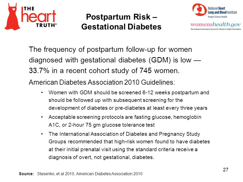 Postpartum Risk – Gestational Diabetes The frequency of postpartum follow-up for women diagnosed with gestational diabetes (GDM) is low 33.7% in a rec