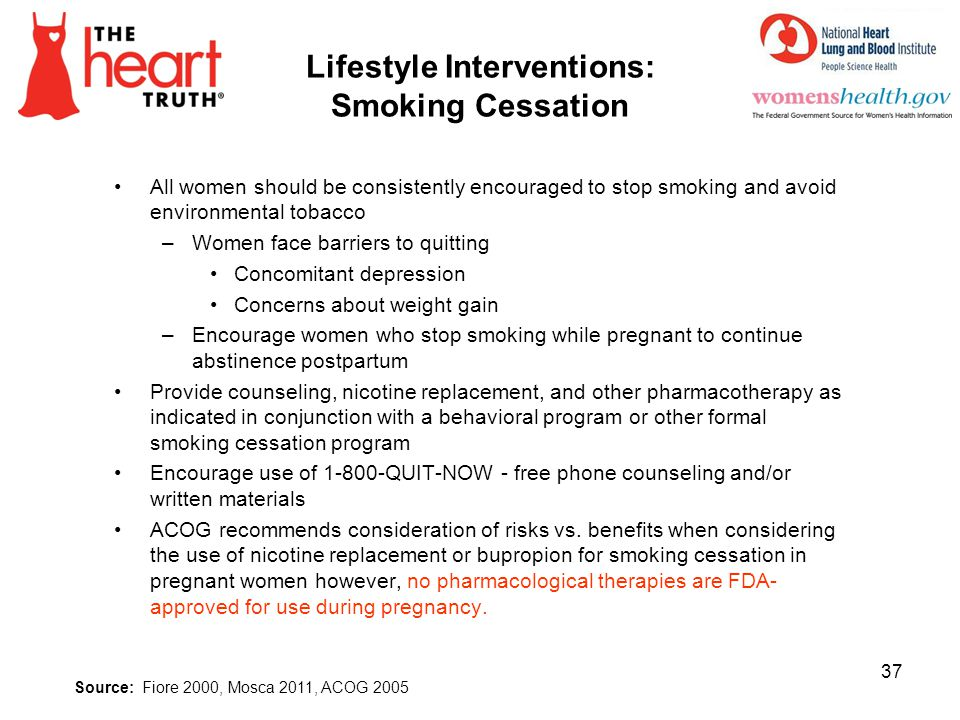 Lifestyle Interventions: Smoking Cessation All women should be consistently encouraged to stop smoking and avoid environmental tobacco –Women face bar