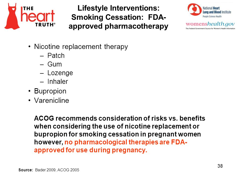 Lifestyle Interventions: Smoking Cessation: FDA- approved pharmacotherapy Nicotine replacement therapy –Patch –Gum –Lozenge –Inhaler Bupropion Varenic