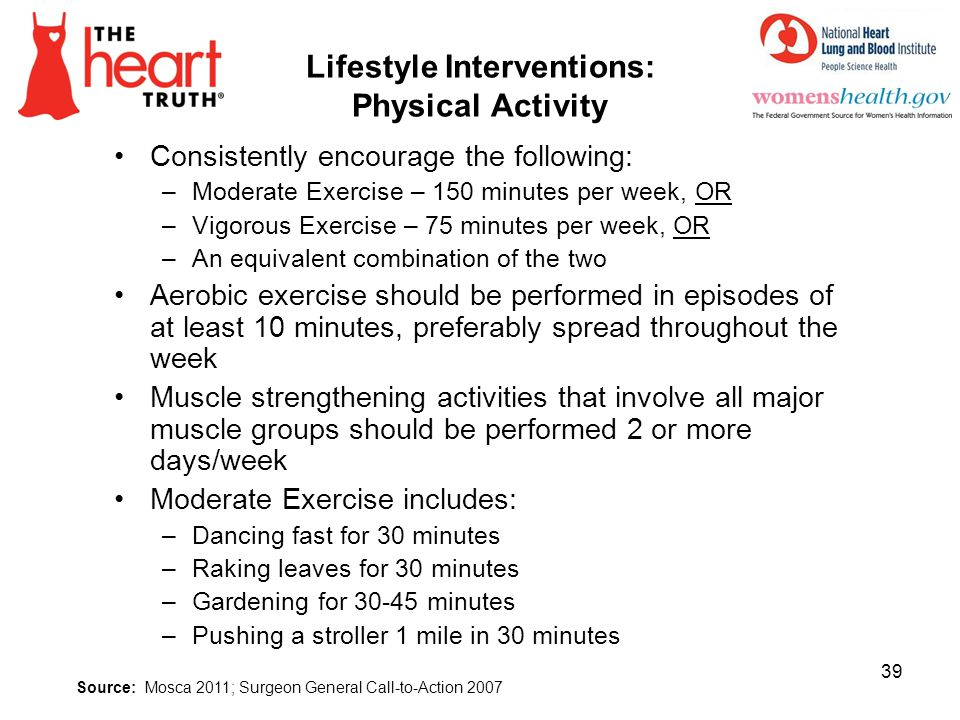 Lifestyle Interventions: Physical Activity Consistently encourage the following: –Moderate Exercise – 150 minutes per week, OR –Vigorous Exercise – 75