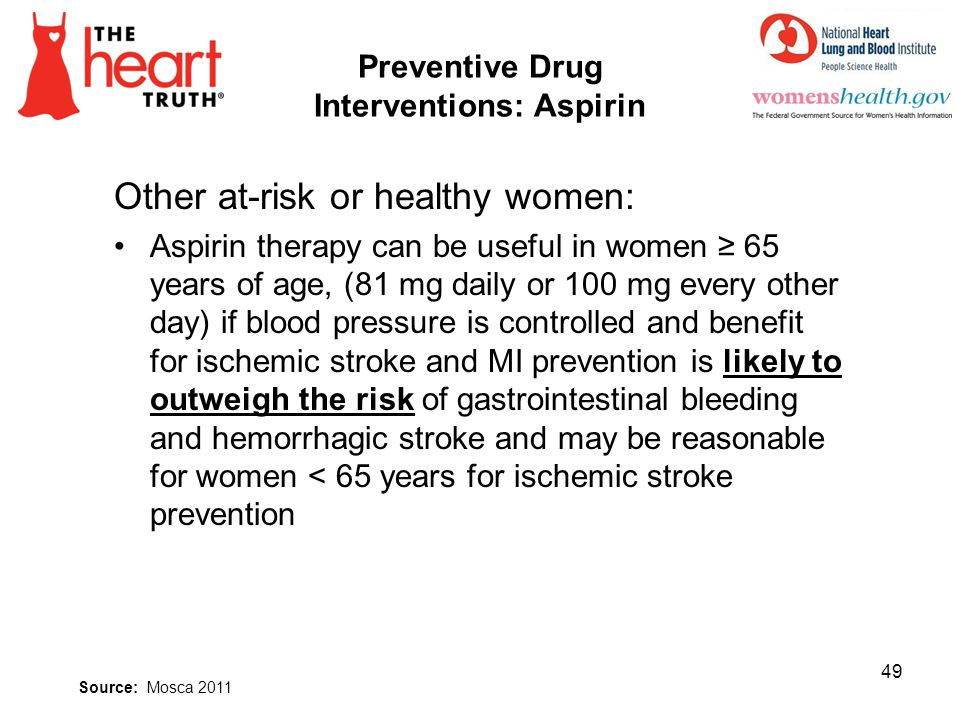 Preventive Drug Interventions: Aspirin Other at-risk or healthy women: Aspirin therapy can be useful in women 65 years of age, (81 mg daily or 100 mg