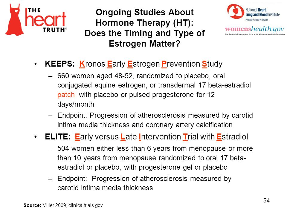 Ongoing Studies About Hormone Therapy (HT): Does the Timing and Type of Estrogen Matter? KEEPS: Kronos Early Estrogen Prevention Study –660 women aged