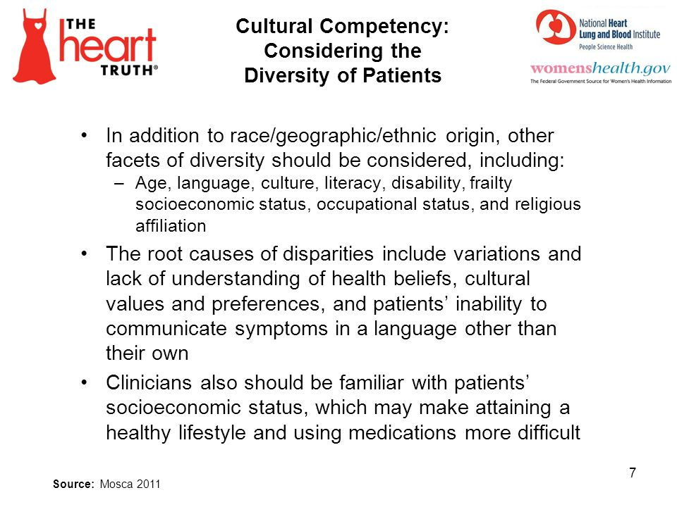 Cultural Competency: Considering the Diversity of Patients In addition to race/geographic/ethnic origin, other facets of diversity should be considere