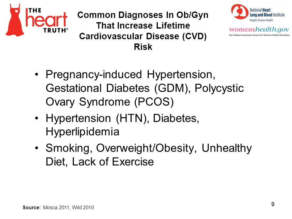Common Diagnoses In Ob/Gyn That Increase Lifetime Cardiovascular Disease (CVD) Risk Pregnancy-induced Hypertension, Gestational Diabetes (GDM), Polycy