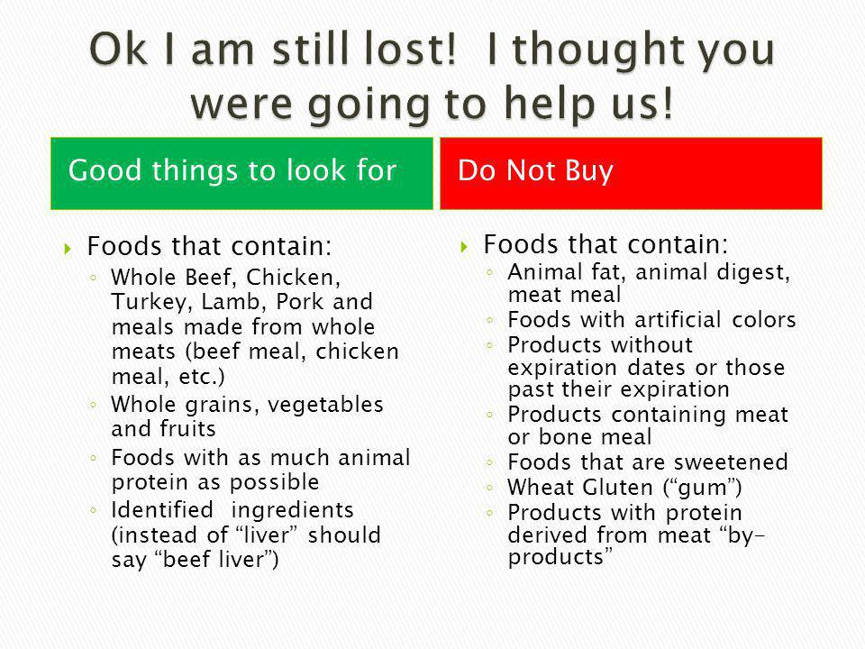 Good things to look forDo Not Buy Foods that contain: Whole Beef, Chicken, Turkey, Lamb, Pork and meals made from whole meats (beef meal, chicken meal, etc.) Whole grains, vegetables and fruits Foods with as much animal protein as possible Identified ingredients (instead of liver should say beef liver) Foods that contain: Animal fat, animal digest, meat meal Foods with artificial colors Products without expiration dates or those past their expiration Products containing meat or bone meal Foods that are sweetened Wheat Gluten (gum) Products with protein derived from meat by- products