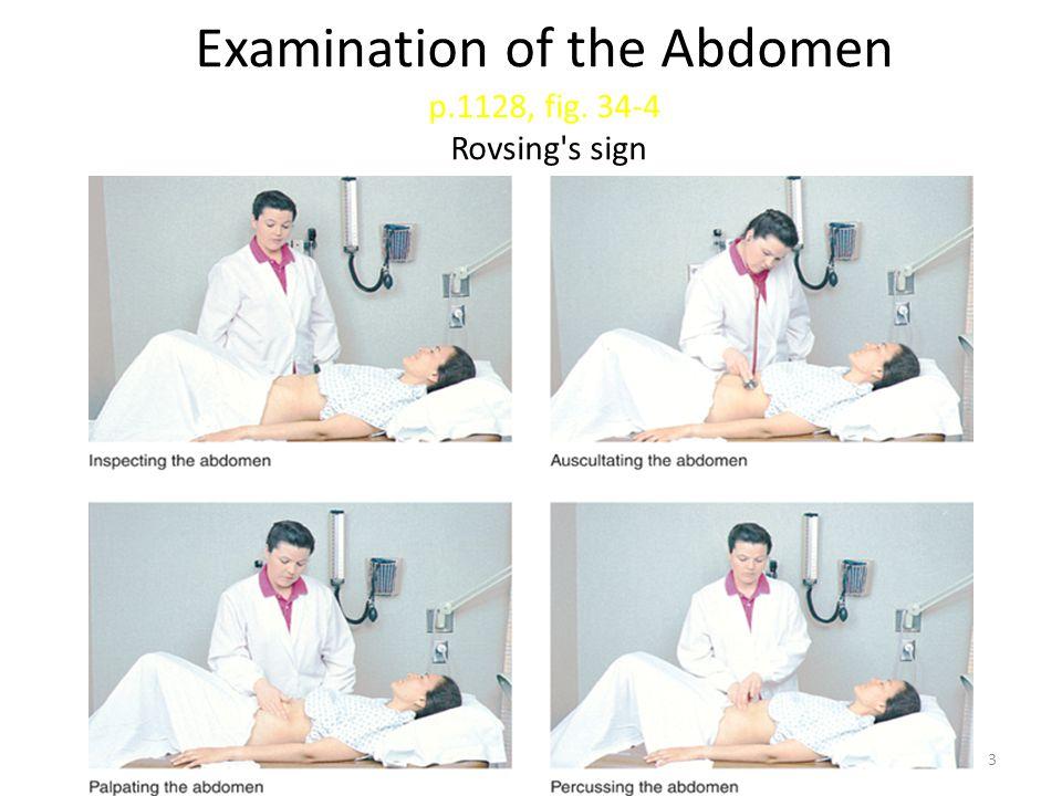 Examination of the Abdomen p.1128, fig. 34-4 Rovsing s sign 3
