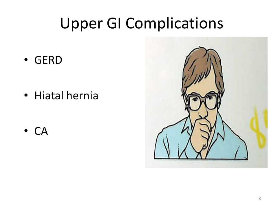 Upper GI Complications GERD Hiatal hernia CA 8