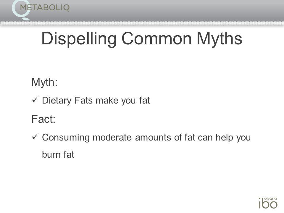 Dispelling Common Myths Myth: Dietary Fats make you fat Fact: Consuming moderate amounts of fat can help you burn fat