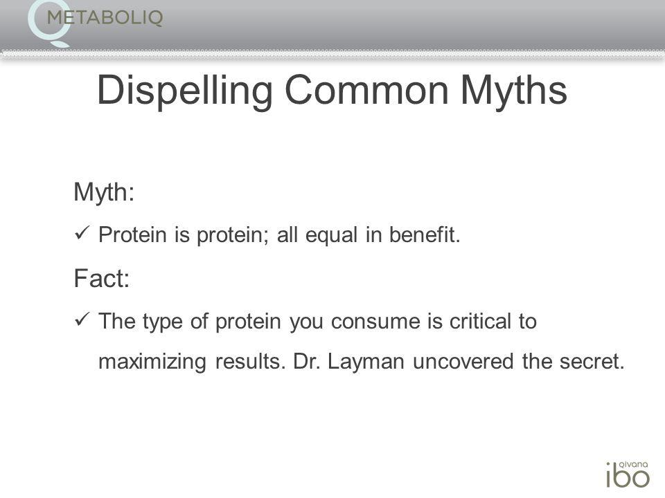 Dispelling Common Myths Myth: Protein is protein; all equal in benefit.