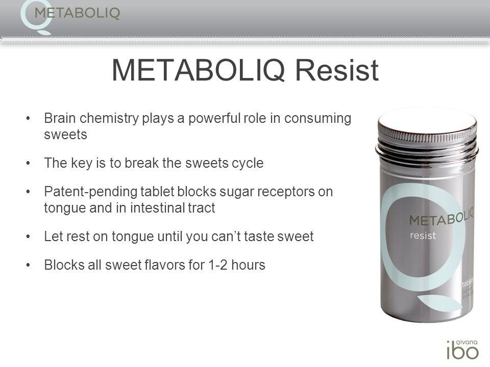 METABOLIQ Resist Brain chemistry plays a powerful role in consuming sweets The key is to break the sweets cycle Patent-pending tablet blocks sugar receptors on tongue and in intestinal tract Let rest on tongue until you cant taste sweet Blocks all sweet flavors for 1-2 hours