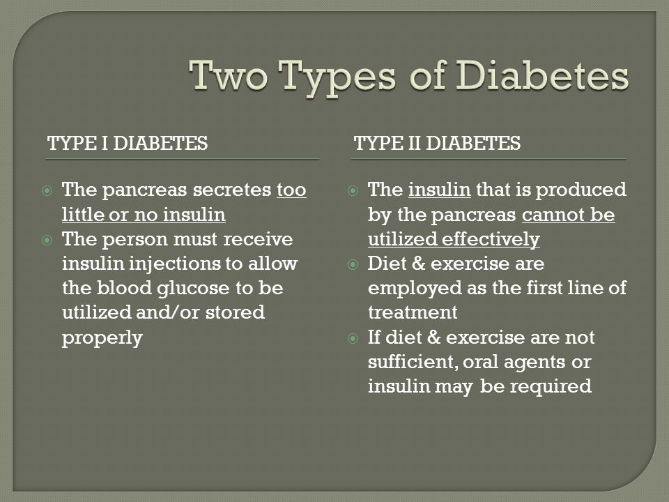 TYPE I DIABETESTYPE II DIABETES The pancreas secretes too little or no insulin The person must receive insulin injections to allow the blood glucose t