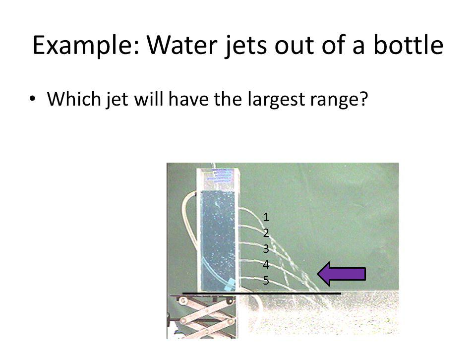 Example: Water jets out of a bottle Which jet will have the largest range? 1234512345