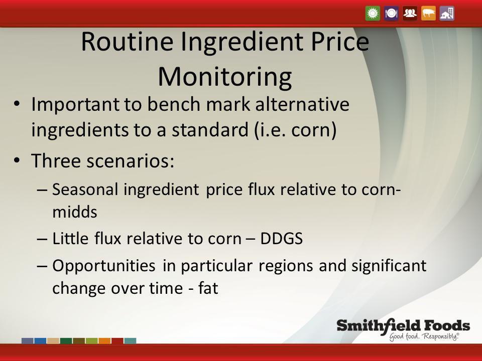 Routine Ingredient Price Monitoring Important to bench mark alternative ingredients to a standard (i.e. corn) Three scenarios: – Seasonal ingredient p