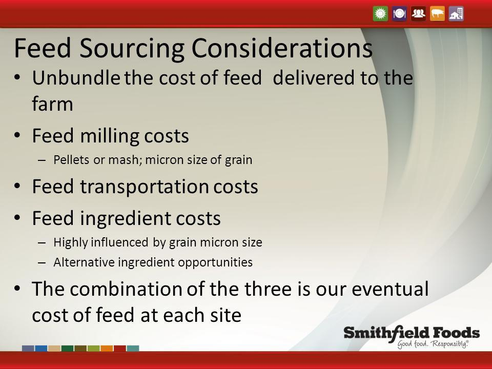 Feed Sourcing Considerations Unbundle the cost of feed delivered to the farm Feed milling costs – Pellets or mash; micron size of grain Feed transport