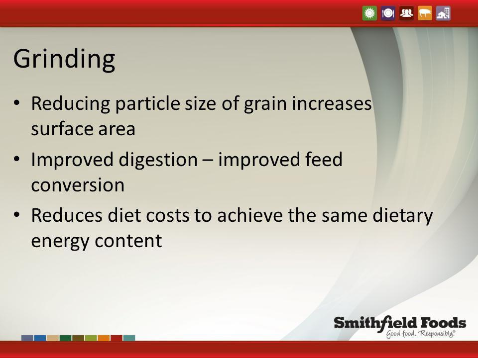 Grinding Reducing particle size of grain increases surface area Improved digestion – improved feed conversion Reduces diet costs to achieve the same d