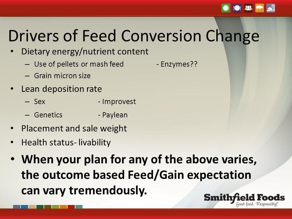 Drivers of Feed Conversion Change Dietary energy/nutrient content – Use of pellets or mash feed- Enzymes?? – Grain micron size Lean deposition rate –