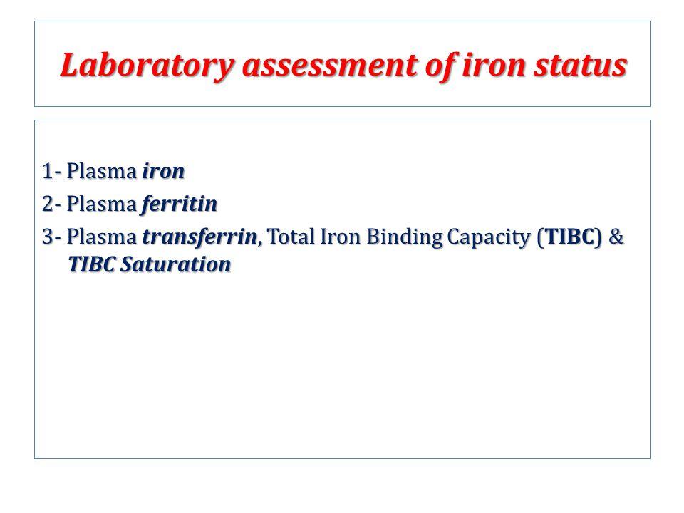 Laboratory assessment of iron status 1- Plasma iron 2- Plasma ferritin 3- Plasma transferrin, Total Iron Binding Capacity (TIBC) & TIBC Saturation