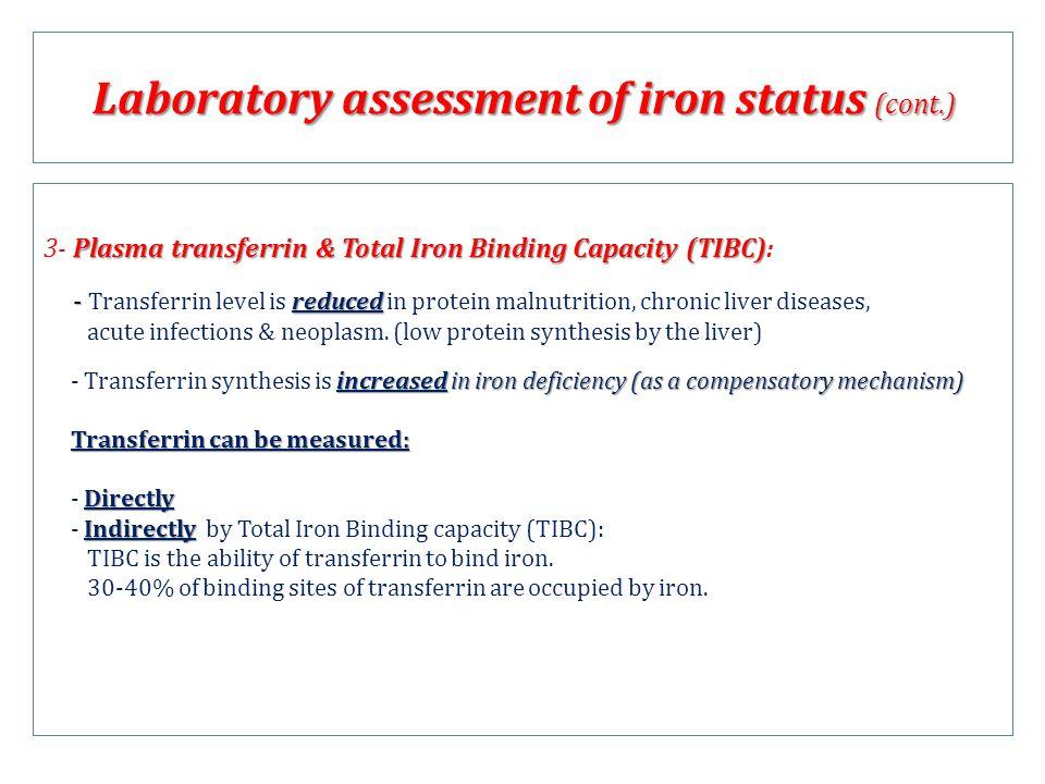 Plasma transferrin & Total Iron Binding Capacity (TIBC) 3- Plasma transferrin & Total Iron Binding Capacity (TIBC): - reduced - Transferrin level is r