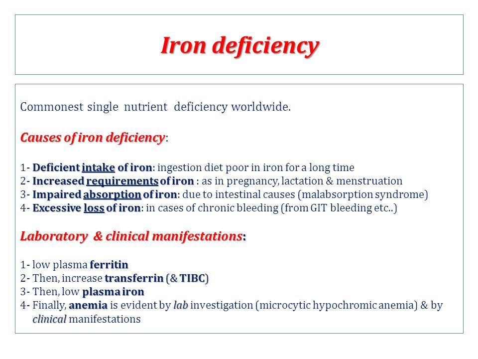 Iron deficiency Commonest single nutrient deficiency worldwide. Causes of iron deficiency Causes of iron deficiency: Deficient intake of iron 1- Defic
