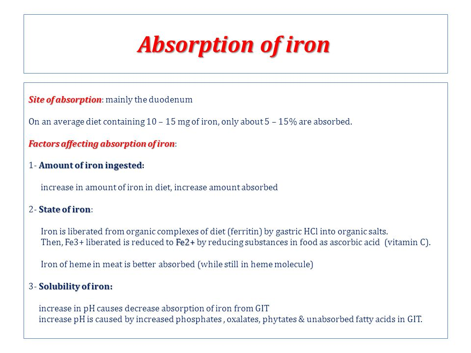 Absorption of iron Site of absorption Site of absorption: mainly the duodenum On an average diet containing 10 – 15 mg of iron, only about 5 – 15% are absorbed.