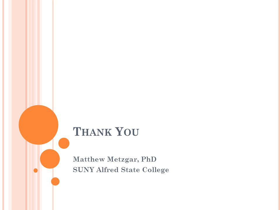 T HANK Y OU Matthew Metzgar, PhD SUNY Alfred State College