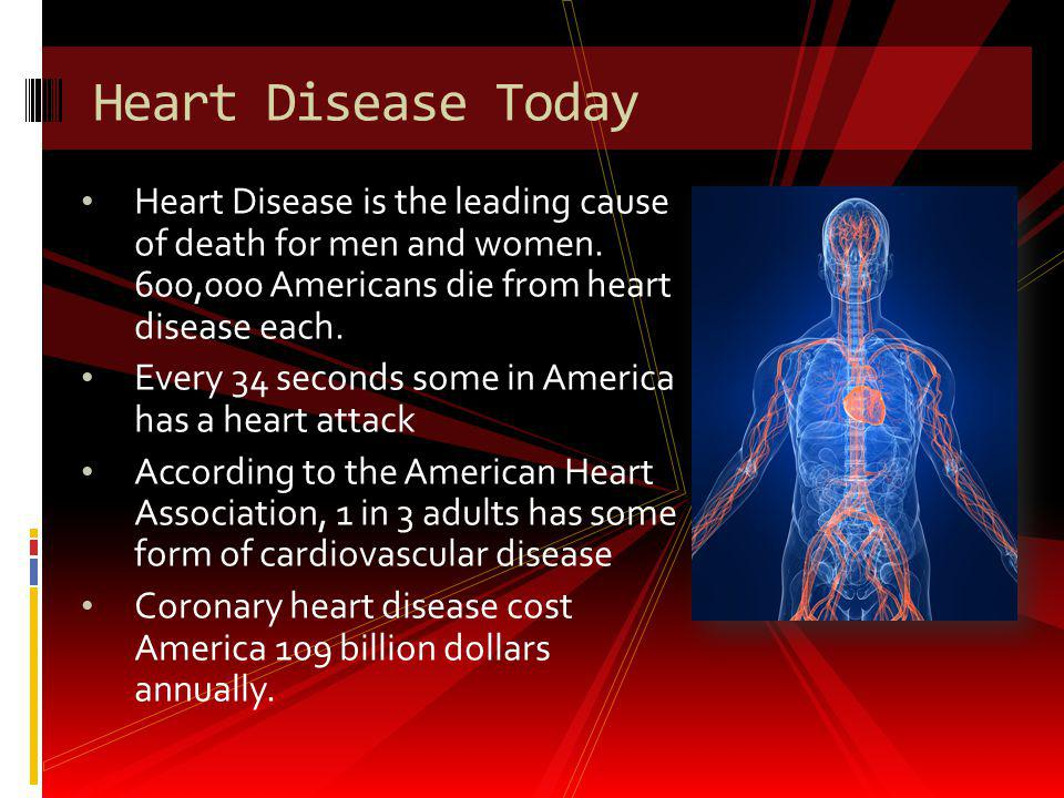 Heart Disease is the leading cause of death for men and women. 600,000 Americans die from heart disease each. Every 34 seconds some in America has a h