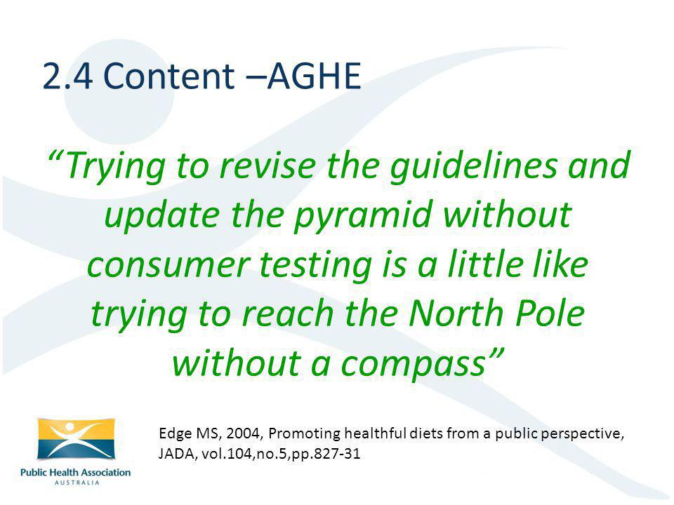 Trying to revise the guidelines and update the pyramid without consumer testing is a little like trying to reach the North Pole without a compass 2.4 Content –AGHE Edge MS, 2004, Promoting healthful diets from a public perspective, JADA, vol.104,no.5,pp.827-31