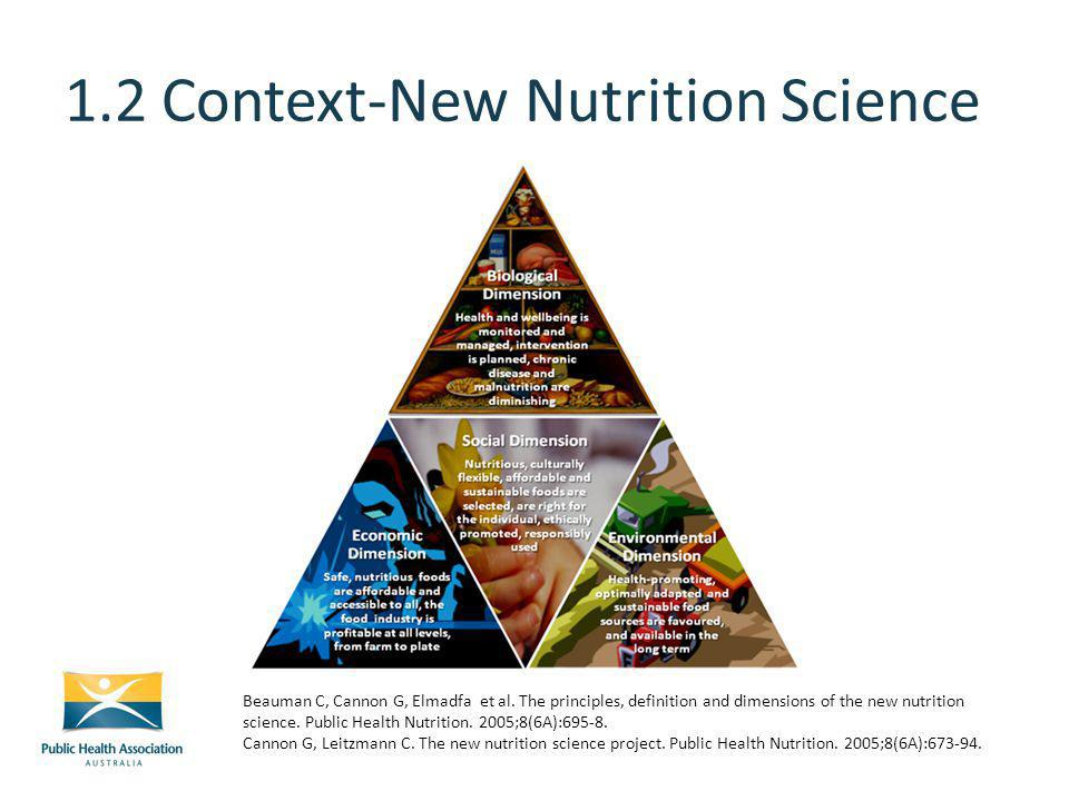 1.2 Context-New Nutrition Science Beauman C, Cannon G, Elmadfa et al.
