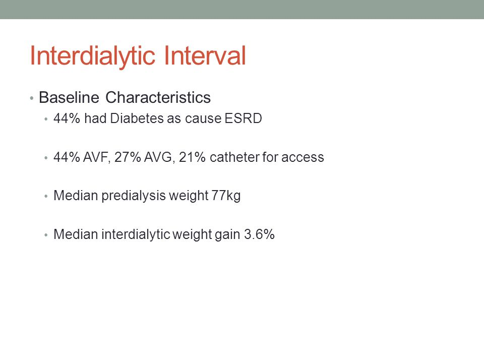 Interdialytic Interval Baseline Characteristics 44% had Diabetes as cause ESRD 44% AVF, 27% AVG, 21% catheter for access Median predialysis weight 77k