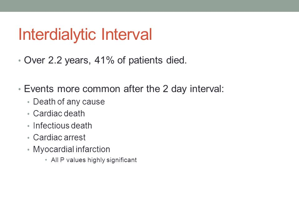 Interdialytic Interval Over 2.2 years, 41% of patients died. Events more common after the 2 day interval: Death of any cause Cardiac death Infectious