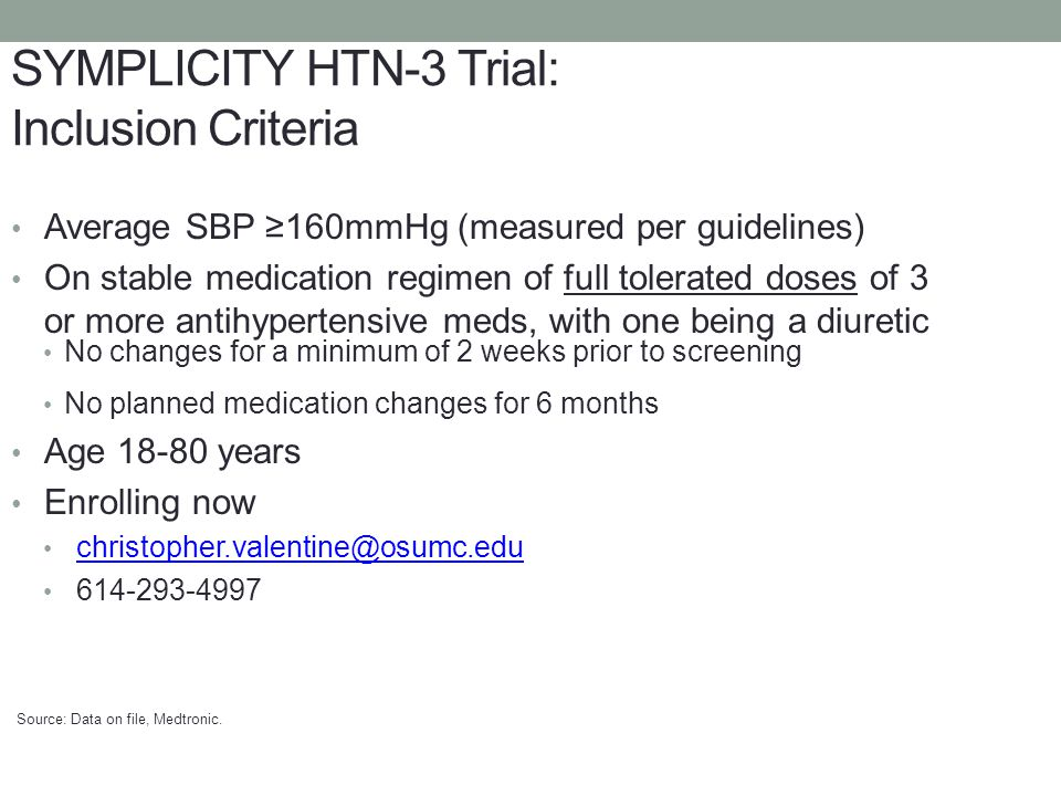 SYMPLICITY HTN-3 Trial: Inclusion Criteria Average SBP 160mmHg (measured per guidelines) On stable medication regimen of full tolerated doses of 3 or