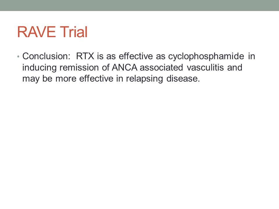 RAVE Trial Conclusion: RTX is as effective as cyclophosphamide in inducing remission of ANCA associated vasculitis and may be more effective in relaps