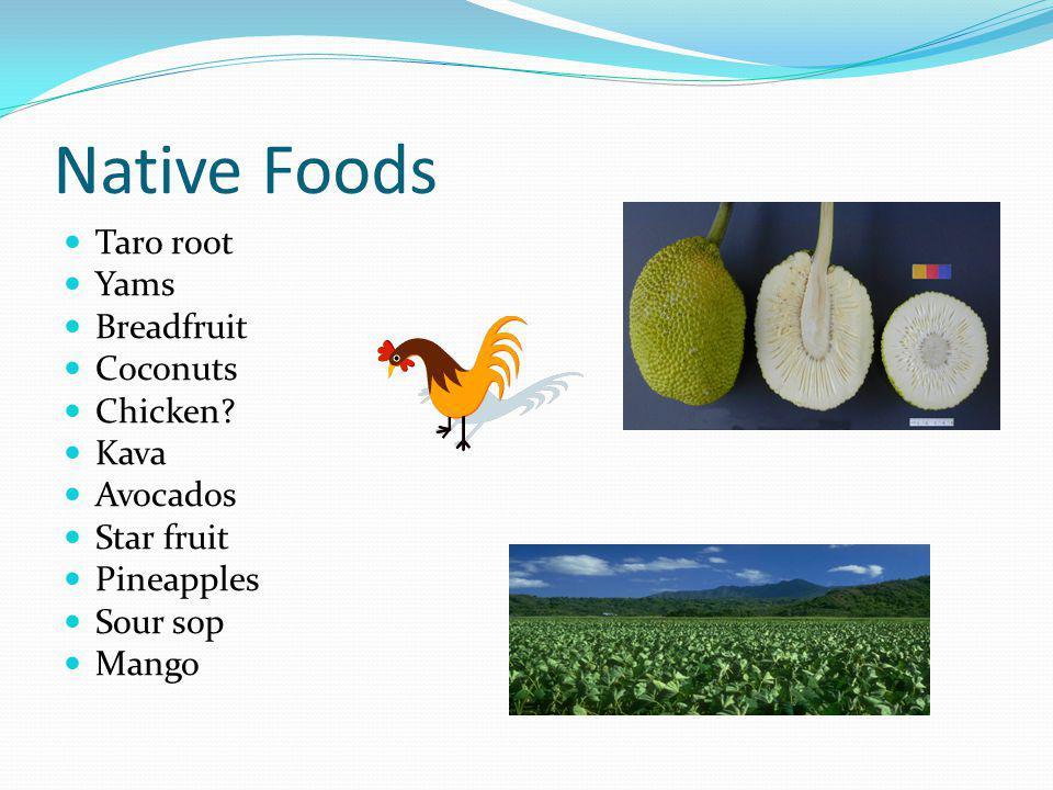 Native Foods Taro root Yams Breadfruit Coconuts Chicken? Kava Avocados Star fruit Pineapples Sour sop Mango