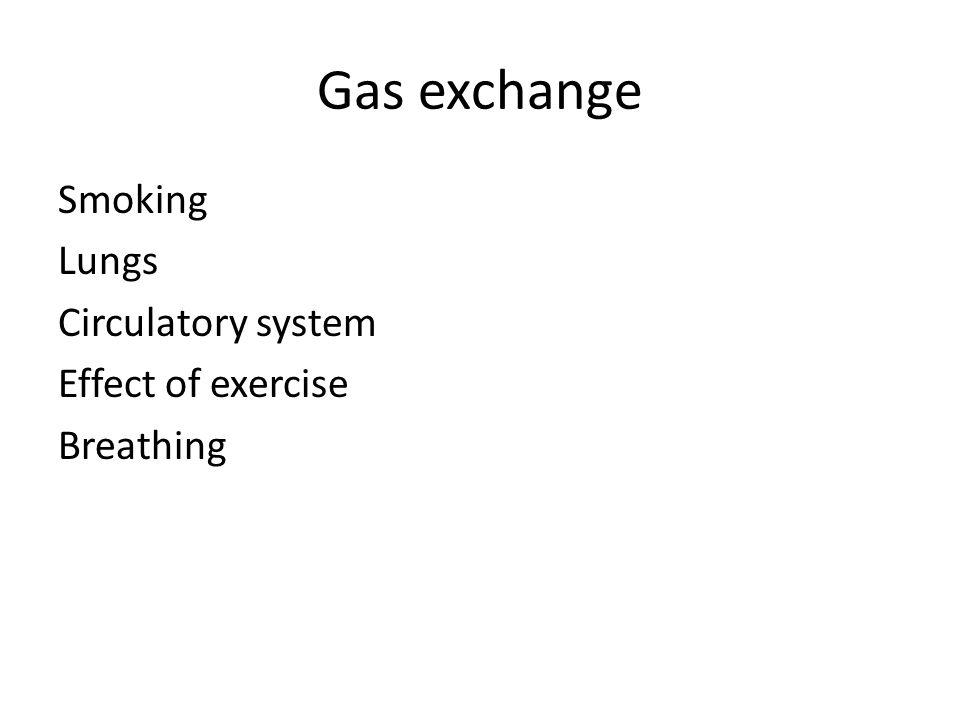Gas exchange Smoking Lungs Circulatory system Effect of exercise Breathing